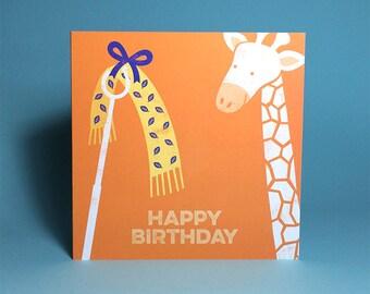 Giraffe 'Scarf Face' Greetings Card