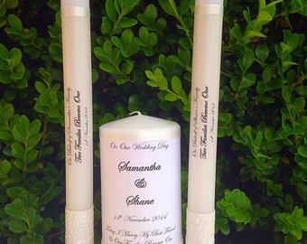 Wedding Candle Unity Sets - Personalised and Handmade - Custom to suit wedding theme