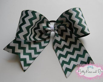 Green and White Cheer Bow, Hunter Green Cheer Bow, Dark Green Cheer Bow, Chevron Cheer Bow, Competition Cheer Bow, Cheerleading, Cheerleader