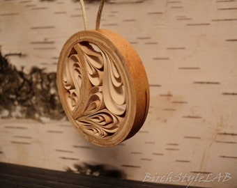 birch bark pendant necklace wooden pendant