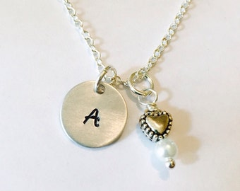 Hand Stamped Initial Necklace with Pearl and Heart Charm