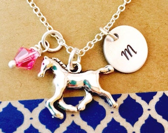 Horse Necklace, Horse Charm, Horse Necklace with Initial Charm Necklace, Equestrian Lover, Horse lover, Personalized Initial, Rodeo,