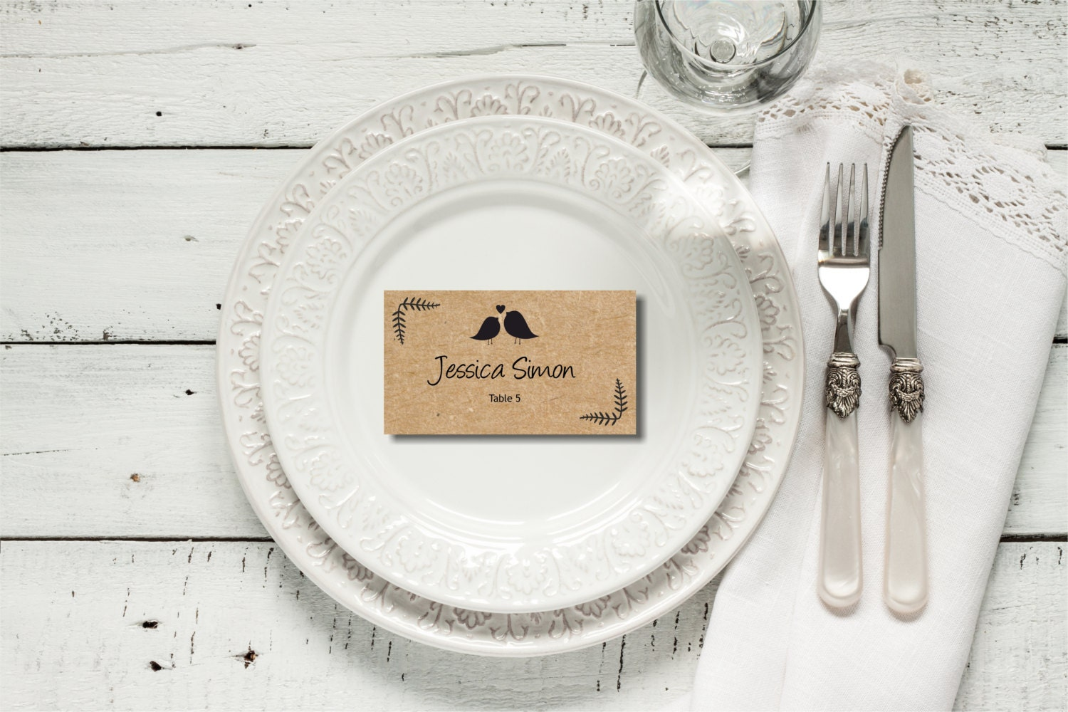 printable rustic flat escord cards placecards with two loving