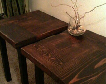 Pair of Butcher Block Accent Tables - Made to Order