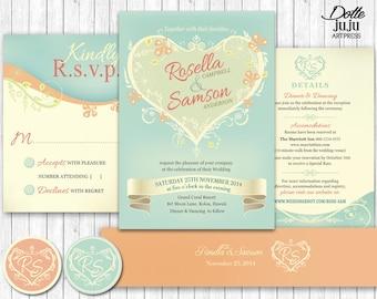 shabby chic wedding invitation | etsy uk, Wedding invitations