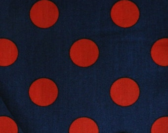 1/2 Yard Blue with Red Polka Dots