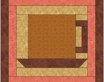 Coffee Cup Quilt Block Pattern Digital Download