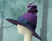 Witch Hat - Purple Witch Hat - Curly Witch Hat - Large Witch Hat - Witch's Hat - Pointed Witch Hat - Felt Witch Hat