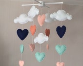 Baby mobile - Cot mobile - clouds and hearts - Cloud Mobile - Baby girl mobile - Navy, mint, peach/coral