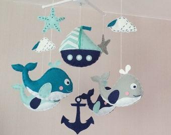 Baby mobile - Crib mobile - Cot mobile - nautical baby mobile - whales mobile