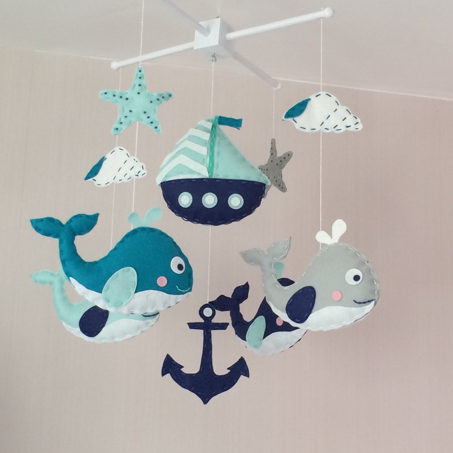 baby mobile crib mobile cot mobile nautical baby mobile. Black Bedroom Furniture Sets. Home Design Ideas