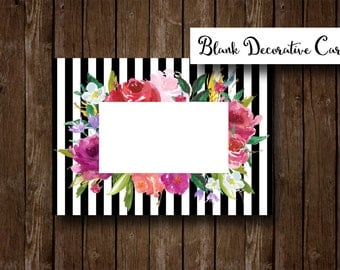 Blank Decorative Card - Floral Stripes - Printable PDF and JPEG