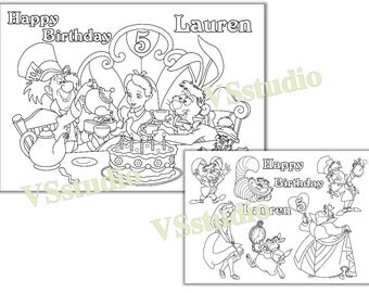 Alice in Wonderland Birthday Party, Alice in Wonderland coloring pages, PDF file