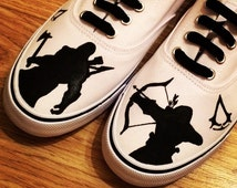 Assassins Creed, Game Shoes, Custom Shoes, Custom Converse, Converse Allstars, Vans Shoes, Painted Shoes