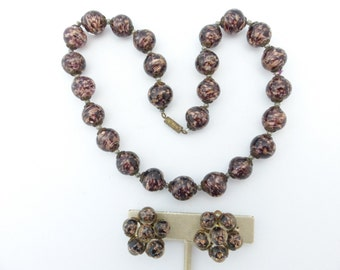 Made in Italy Venetian Murano glass bead necklace and earring set AM30