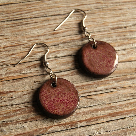 MEDIUM glossy pink round stoneware drop earrings