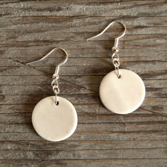 MEDIUM matte white round stoneware drop earrings