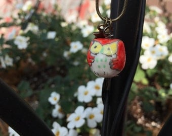 Red Owl Charm Necklace