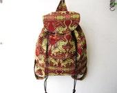 red elephant backpack,tribal rucksack, asian backpack,ethnic backpack, hipster backpack boho school bag,travel bag, weekender bag -B010