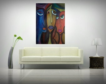 "Large Abstract paiting - ""Colored Faces"" (70x100cm) by Roxana Patricia Nita"