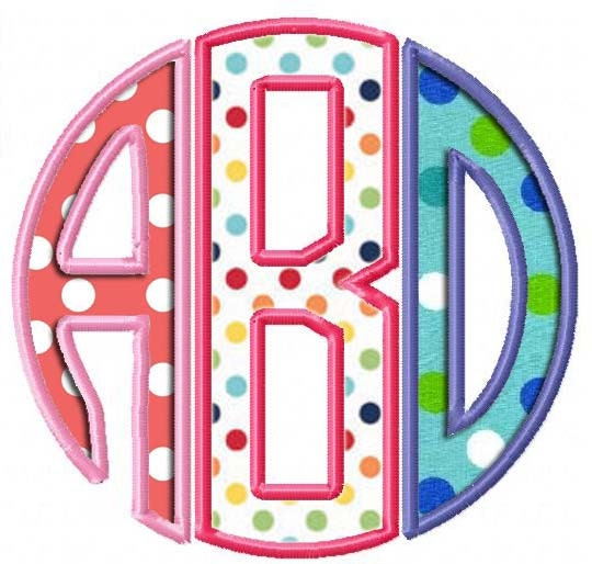Circle monogram applique embroidery designs sizes inch