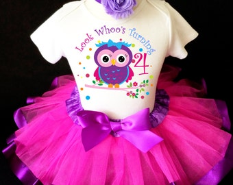 Fast Shipping - Birthday Owl LOOK Whoo's Turning Blue Purple Hot Pink Number Age 4 4th Fourth Shirt & Tutu Set Girl Outfit Party