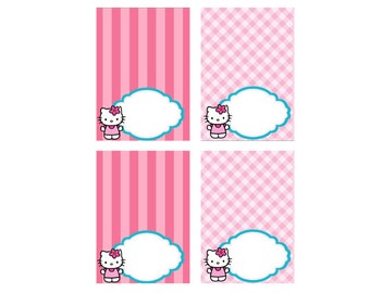Hello Kitty Food Tent Cards, Instant Download