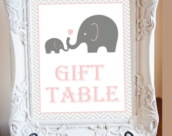 "Baby Sign Gift Table Elepahnt theme Baby shower 8""x10"" INSTANT DOWNLOAD"