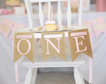 ONE highchair banner, Pink and gold banner, Royal First Birthday