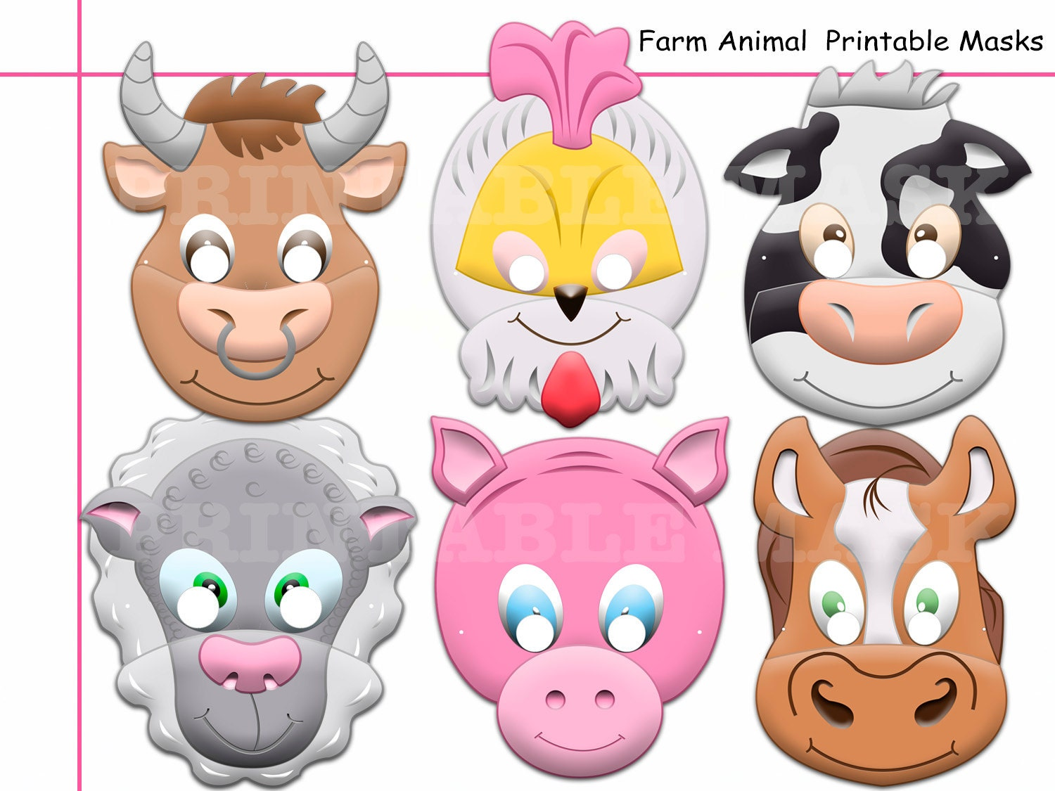 unique farm animals printable masks party photo props
