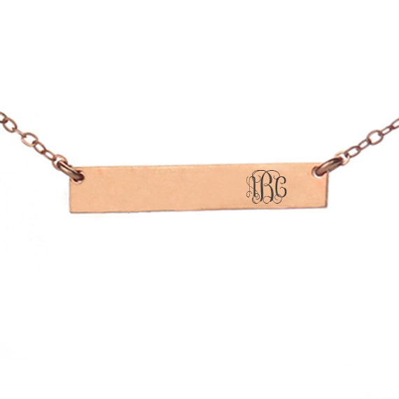 gold monogram bar necklace engraved by