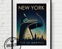 Avengers Retro Travel Poster - Age of Ultron - New York - Retro City Print