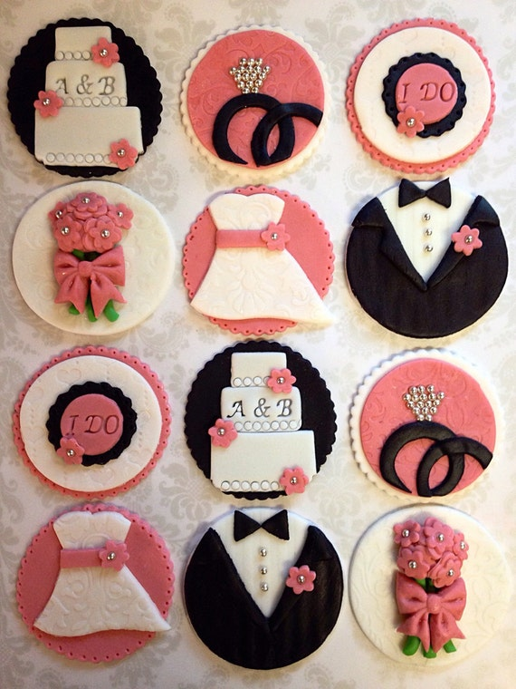 12 Bridal Shower Cupcake Toppers Wedding By FondantandFrosting