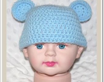 Newborn Baby Crocheted Baby Blue Teddy Beanie