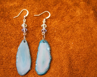 Light Blue Agate Earrings