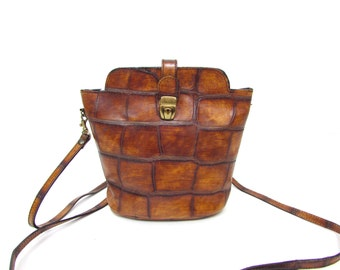 Vintage Small Brown Leather Bag Messenger // Mini Satchel Leather Bag