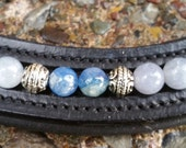 Day Tripper: Dressage or hunter horse browband with 8mm Kyanite and 8-9mm aquamarine beads complemented by antique silver Bali beads