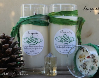 Prosperity jar candle, manifesting blessings of love, abundance and prosperity.