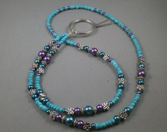 "teal and purple beaded  ID or key lanyard 34"" to 42"" ,your choice of attachment: key or ID holder"