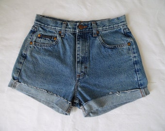 High waisted shorts, vintage blue distressed denim jean shorts, cut off cuffed frayed hotpants, small waist 27