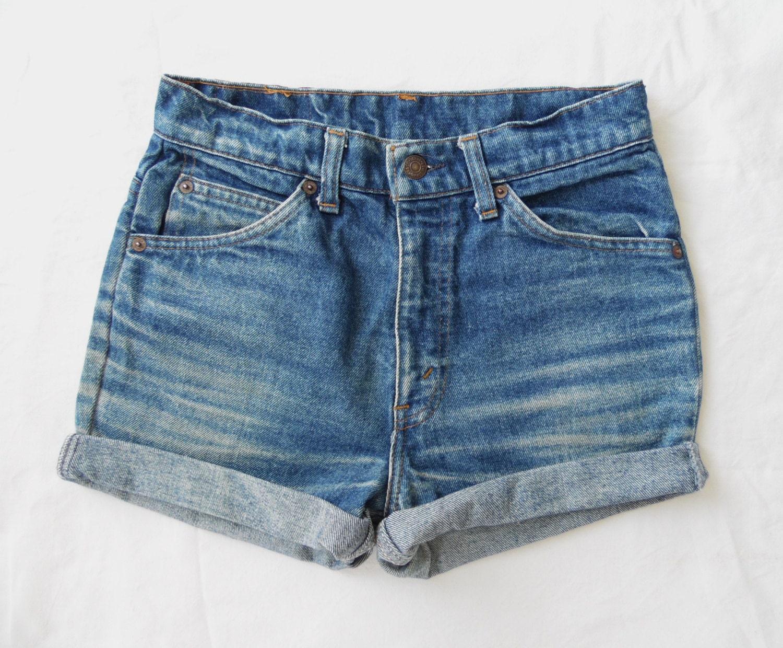 high waisted denim shorts vintage levis 631orange tab blue. Black Bedroom Furniture Sets. Home Design Ideas
