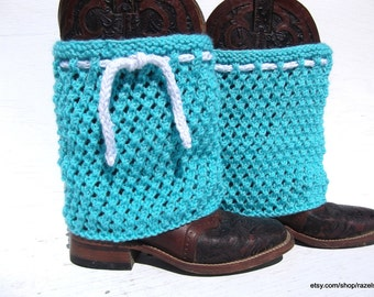 TEAL hand knit BOOT COVERS,