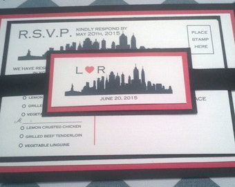 NY Themed Wedding Invitation with Ribbon Bellyband Closure