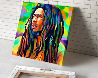 BOB MARLEY (mounted) reggae photo guitar poster cd canvas art giclee painting print