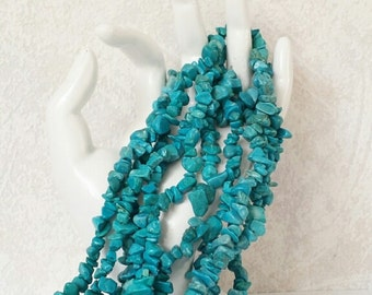 "30""strand of turquoise howlite gemstone chips, gemstone beads, 6-10 mm, bead supplies, jewelry supplies,beads, jewellery."