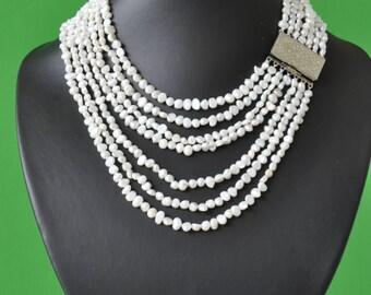 Multi strand white pearl bridal necklace