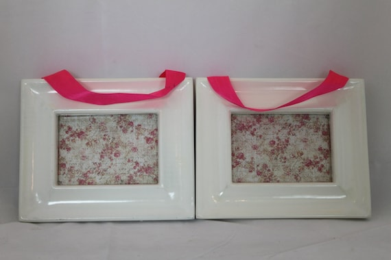 Pair of White Glossy Small Frames with Pink Ribbon for