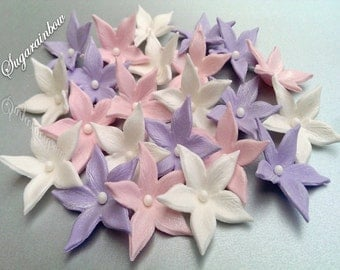 20 Edible sugar flowers blossoms decorations for cake cupcake toppers