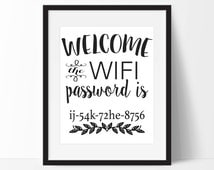 popular items for wifi password on etsy. Black Bedroom Furniture Sets. Home Design Ideas