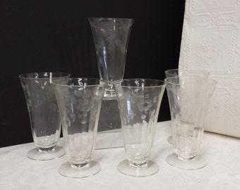 Six (6} Vintage Footed, Etched Parfait Glasses; 1930s
